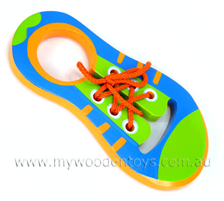 Wooden Toy Lacing Shoe