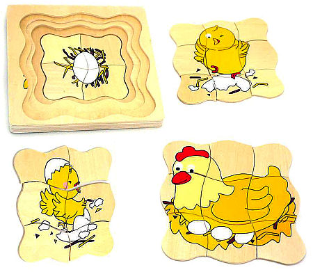 Wooden Layer Puzzle Egg Chicken