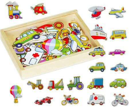 Magnetic Wooden Vehicles Transport Shapes