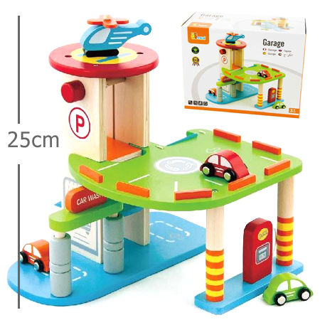 Mini wooden garage playset my wooden toys for Wooden playhouse with garage