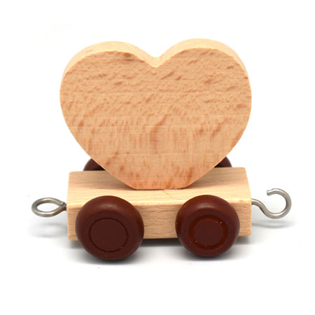 Wooden Name Train Heart