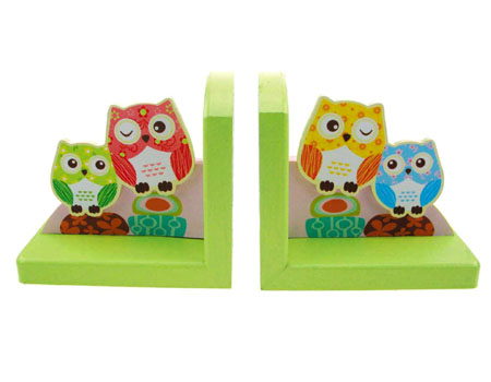 Wooden Bookends Owls