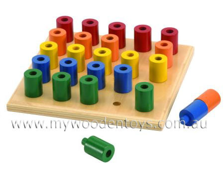 Stacking Wooden Peg Board Toy