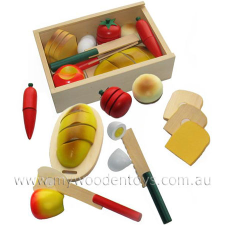 Wooden Toy Play Food Picnic Box