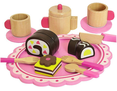 Wooden Afternoon Tea Set Pink