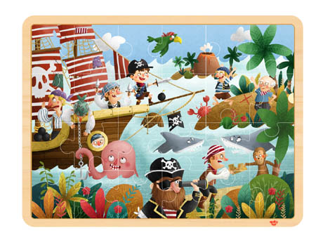 Wooden Pirate Puzzle 24 Pieces