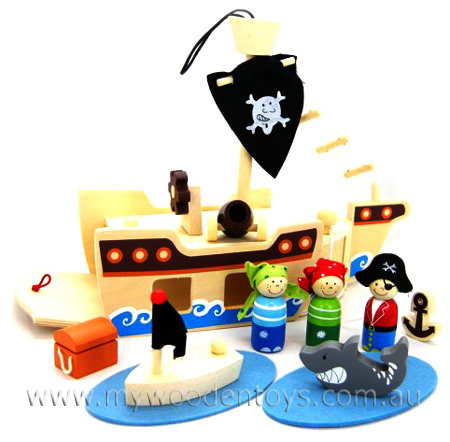 Wooden Toy Pirate Ship Playset