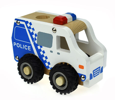 Wooden Police Car Rubber Wheels