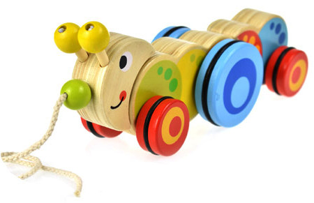 Wooden Toy Pull Along Caterpillar