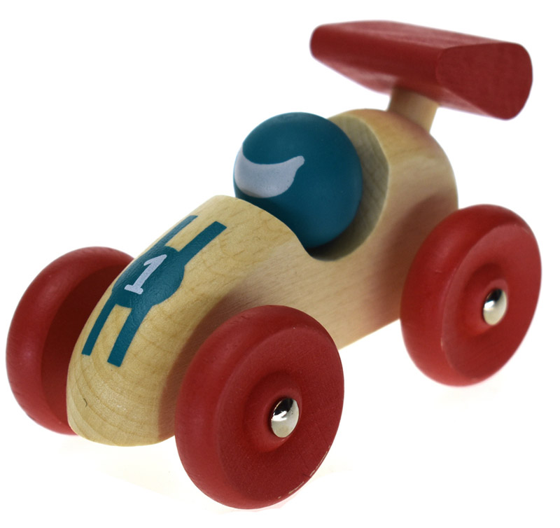 Small Wooden Retro Racing Car Red