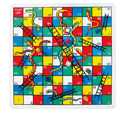 Snakes and Ladders Wooden Game