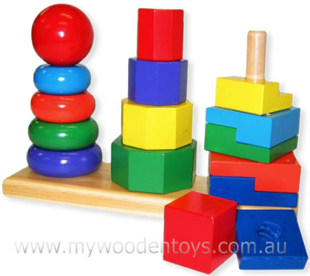 Wooden Triple Rainbow Stacking Toy