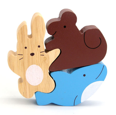 Wooden Stacking Puzzle Whale & Friends