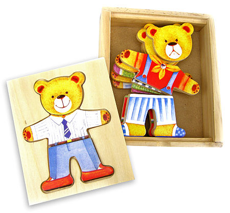 Wooden Toy Boy Bear Dress-Up Puzzle