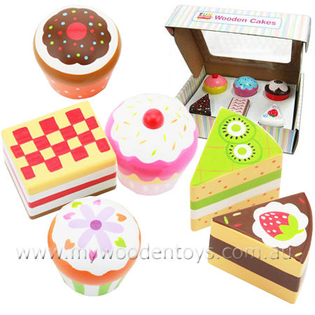 Wooden Cakes Toy Play Set