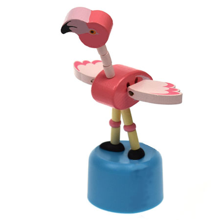Wooden Push Puppet Flamingo