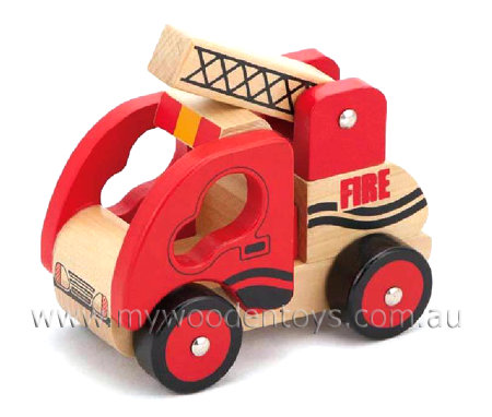 Wooden Fire Engine Emergency Vehicle at My Wooden Toys