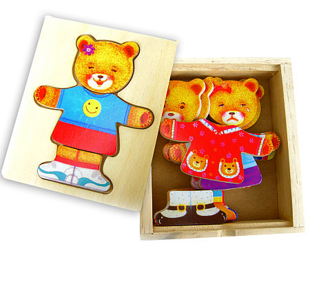 Wooden Toy Girl Bear Dress-Up Puzzle