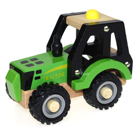 Wooden Toy Green Tractor