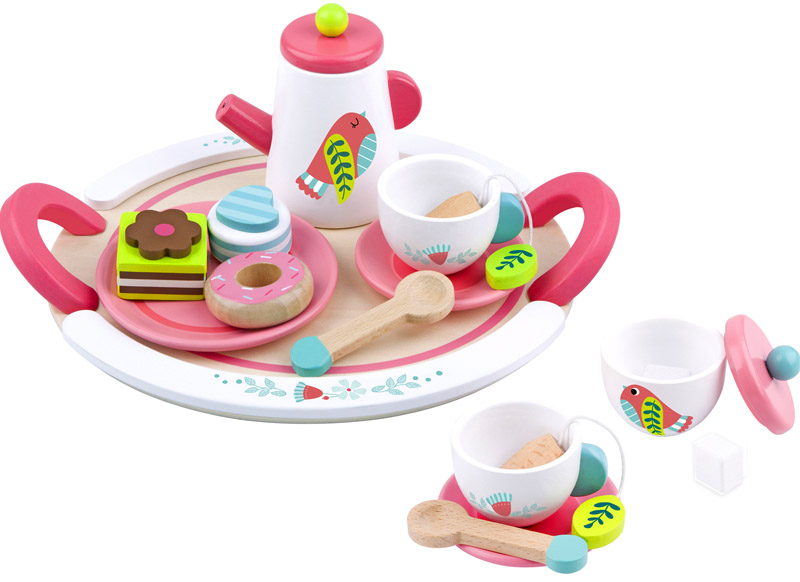 Wooden Toy Tea Set Pink and White