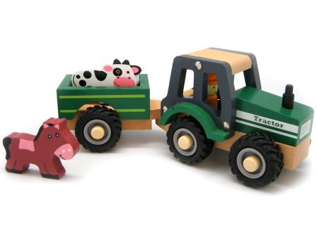Wooden Toy Tractor Animal Trailer