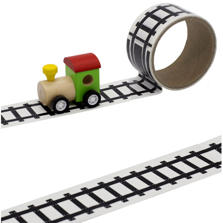 Wooden Train With Track Tape