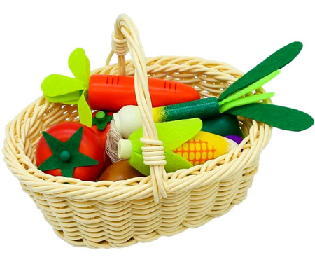 Wooden Toy Vegetable Basket
