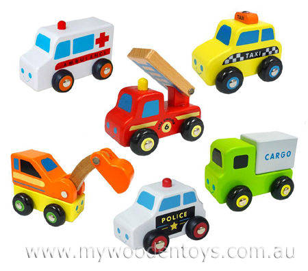 Wooden Six Vehicle Truck Set