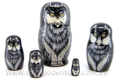 Wooden Wolf Russian Nesting Dolls