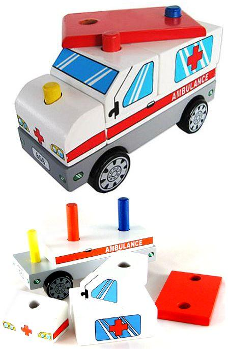Wooden Stacking Toy Ambulance Truck