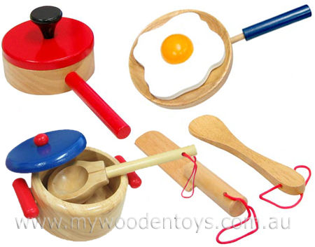 Wooden Toys Cooking Saucepan Set