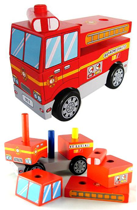 Wooden Stacking Toy Fire Truck