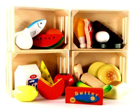 Wooden Toy Play Food Baskets