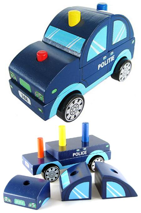 Wooden Stacking Toy Police Car