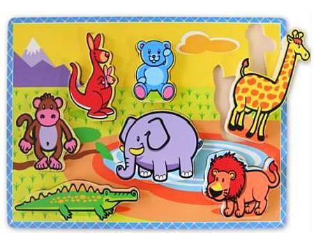 Wooden Toy Childrens Puzzle Wild Animals