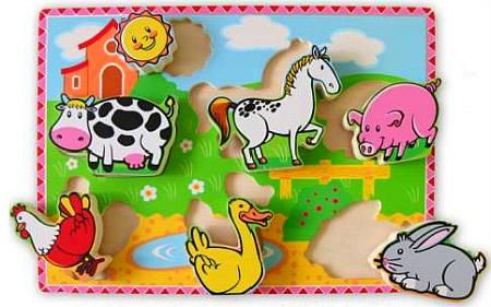 Wooden Toy Childrens Puzzle Farm