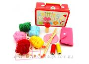 Knitting Kit Wooden In Tin Suitcase