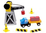 mini wooden crane truck set