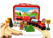 Wooden Train Set in Tin Suitcase