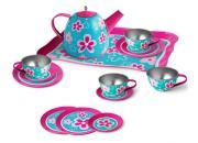 Tin Tea Set Pink Flowers