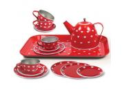 tin tea set red hearts