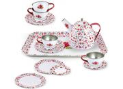 Tin Tea Set White Rose