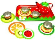 tin teaset fruit pattern
