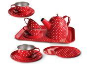 Tin Tea Set Red White Polka Dots