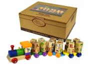 wooden alphabet block train