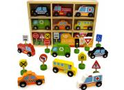 wooden cars trucks signs