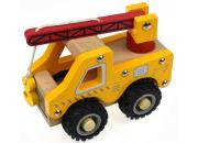 Wooden Truck Crane Rubber Wheels