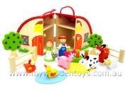 wooden farmhouse playset carrycase