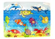 wooden knob peg puzzle sea life