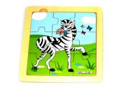 wooden nine piece zebra puzzle